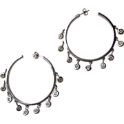Large Vintage Sterling Silver Crystal Hoop Earrings