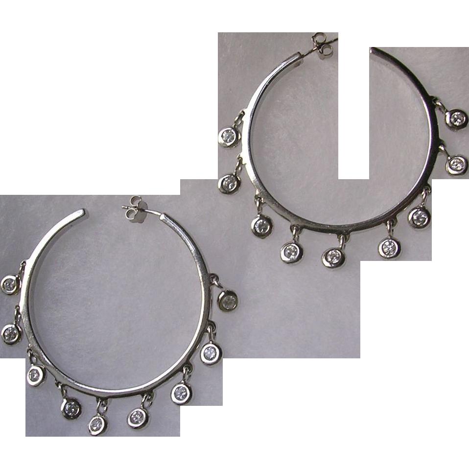 Large Vintage Sterling Silver Crystal Hoop Earrings
