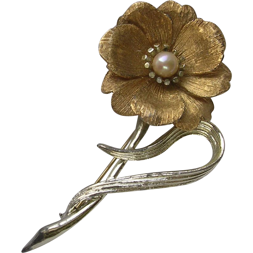 Signed Boucher Pearl Set Flower Brooch