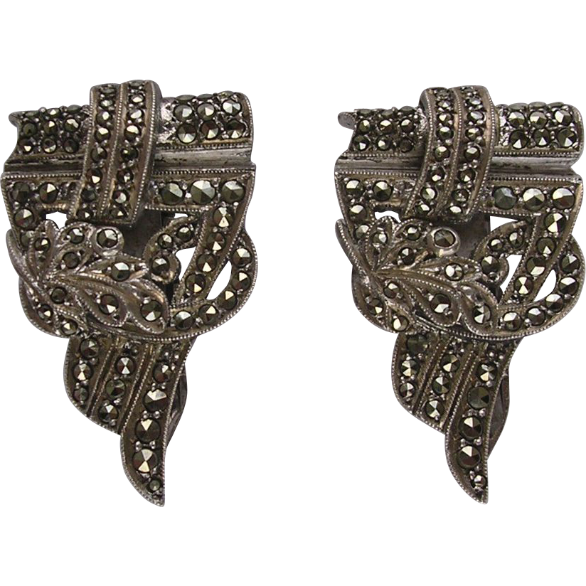 Art Deco Sterling Silver Marcasite Dress Clip Duo