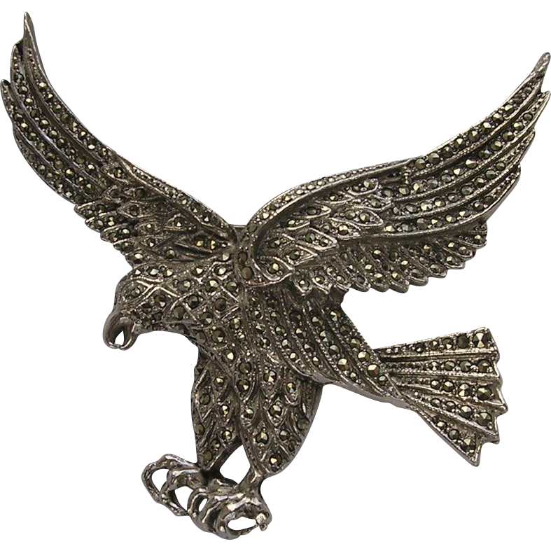 Large Vintage Marcasite Set Eagle Brooch