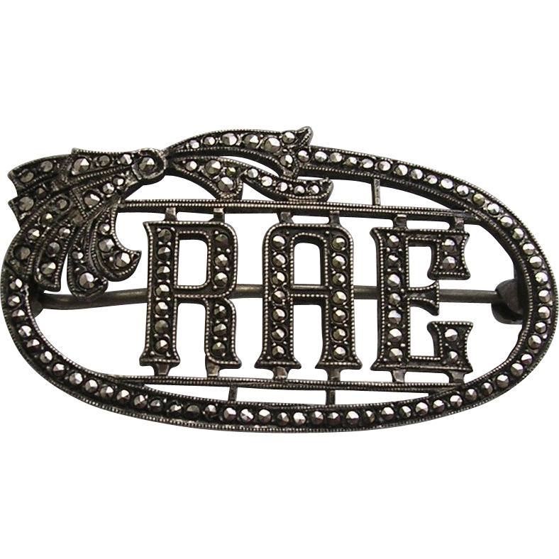 Art Deco Sterling Silver Marcasite Name Brooch Rae
