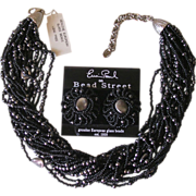 Erwin Pearl Black Imitation Pearl Torsade Necklace & Earrings