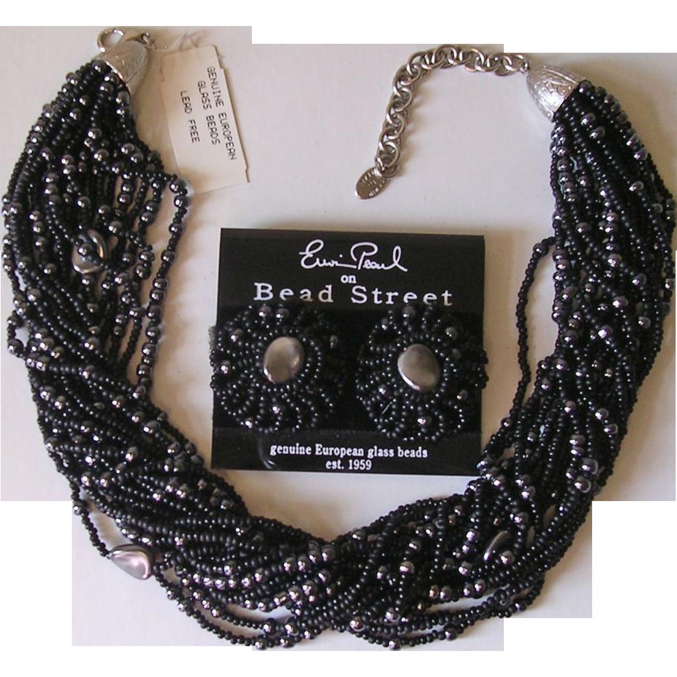 Erwin Pearl Black Imitation Pearl Torsade Necklace & Earrings