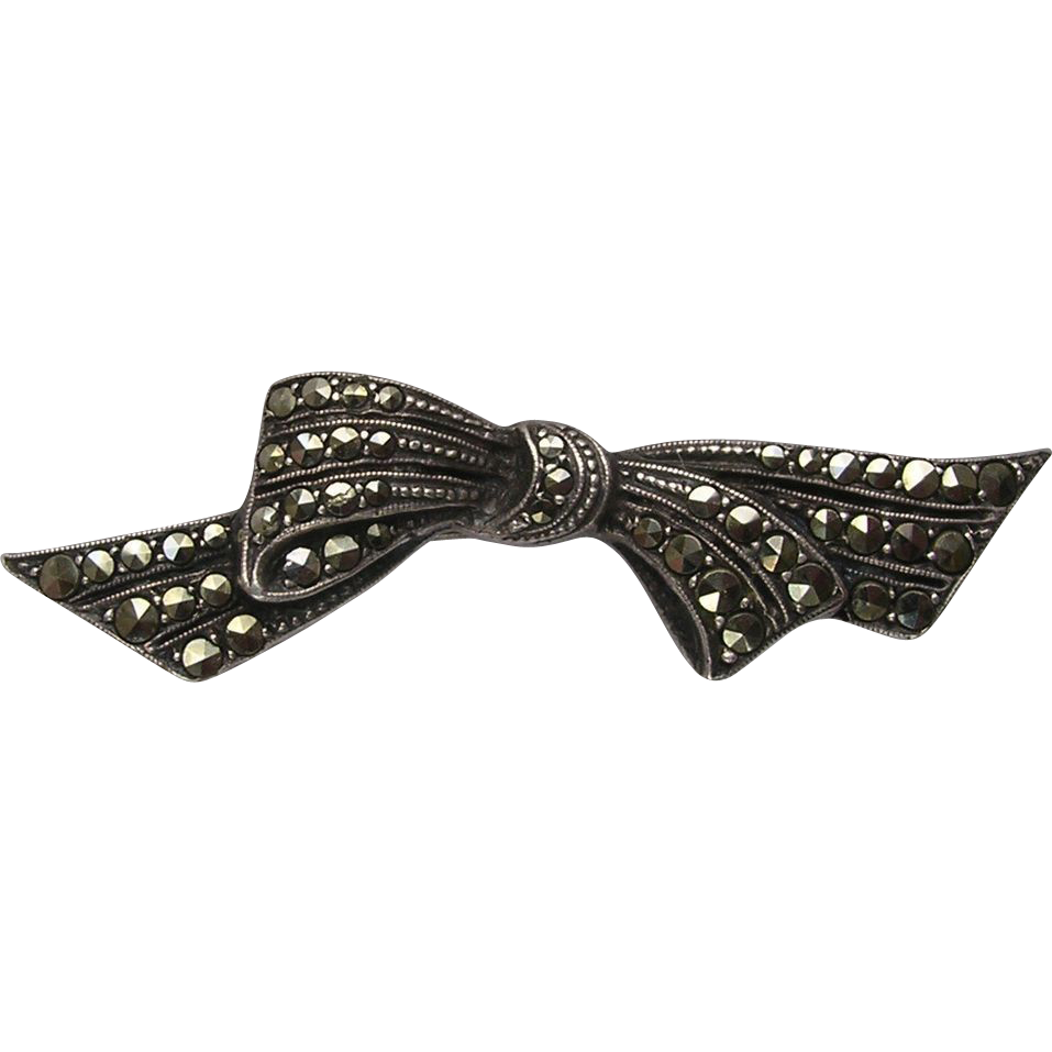 Art Deco 935 Silver Marcasite Ribbon Bow Brooch