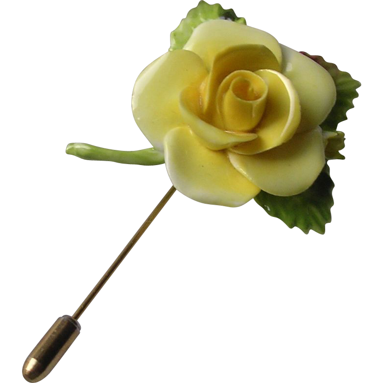 Vintage Yellow Rose China Stickpin