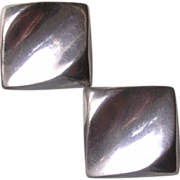 Mid Century Modern Sterling Silver Clip Earrings