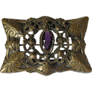Ornate Victorian Amethyst Glass Sash Pin
