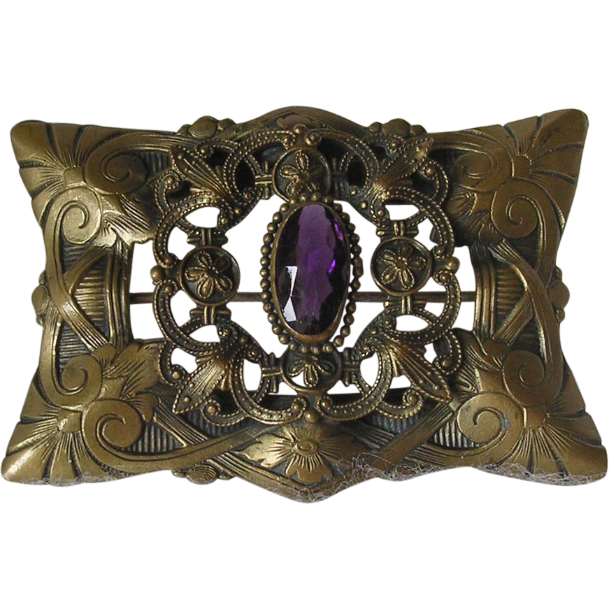 Ornate Victorian Amethyst Glass Sash Pin