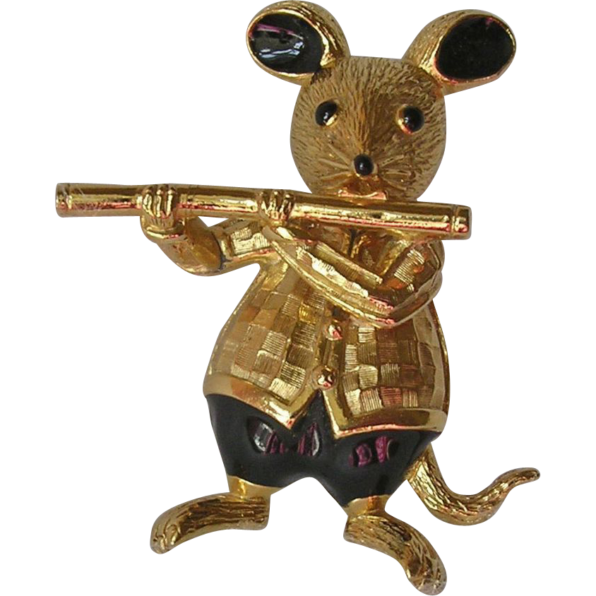 Butler & Wilson Flute Playing Enamel Mouse