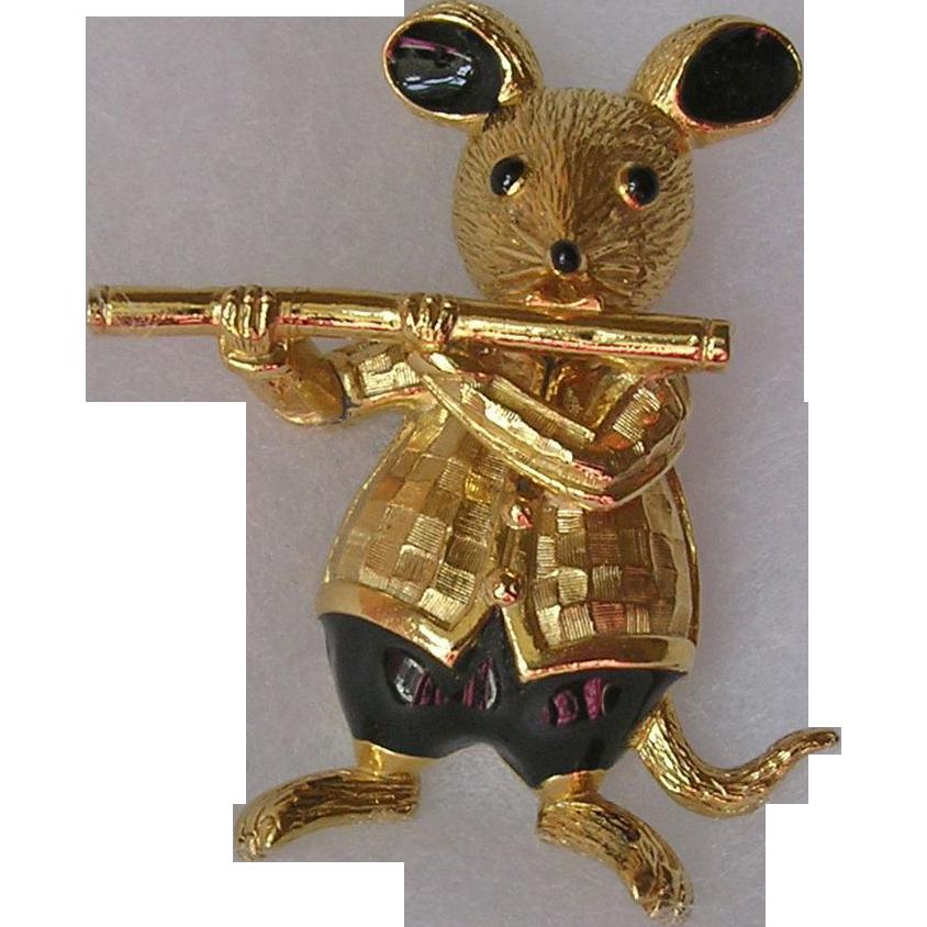 Butler & Wilson Flute Playing Enamel Mouse