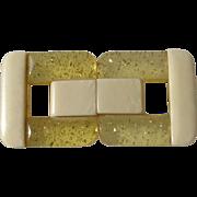 Art Deco Galalith Imitation Ivory & Applejuice Confetti Lucite Belt Clasp