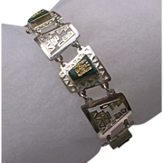 Sterling Silver Green Onyx & Gold Peruvian Bracelet