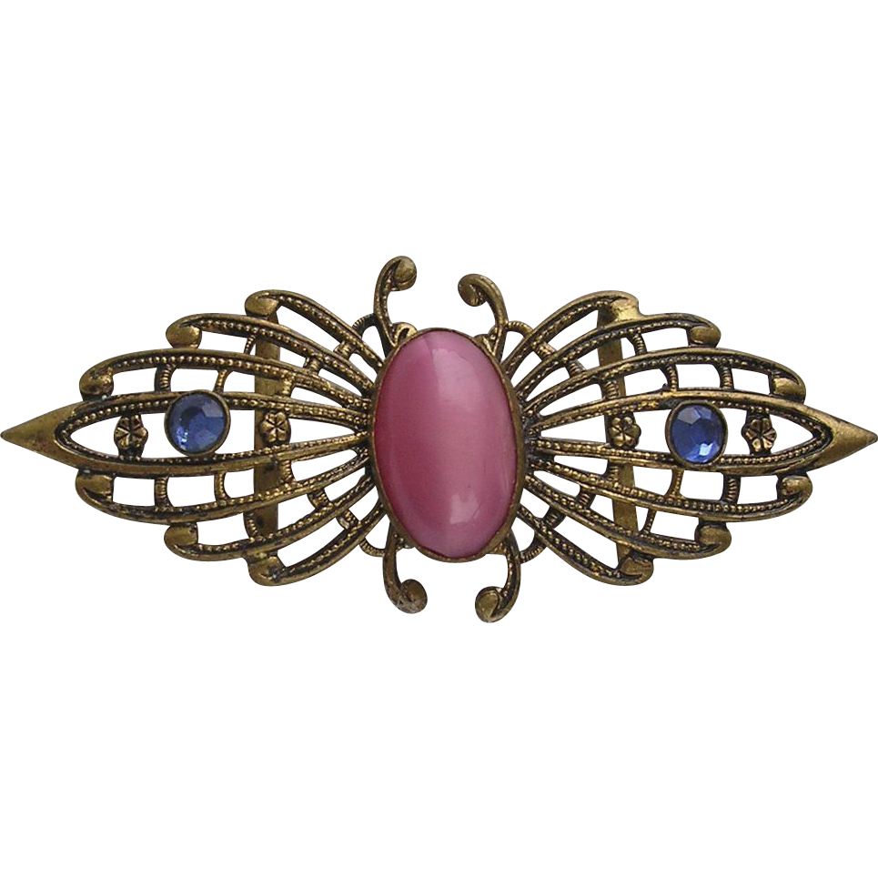 Art Deco Pink Satin Glass Belt Clasp