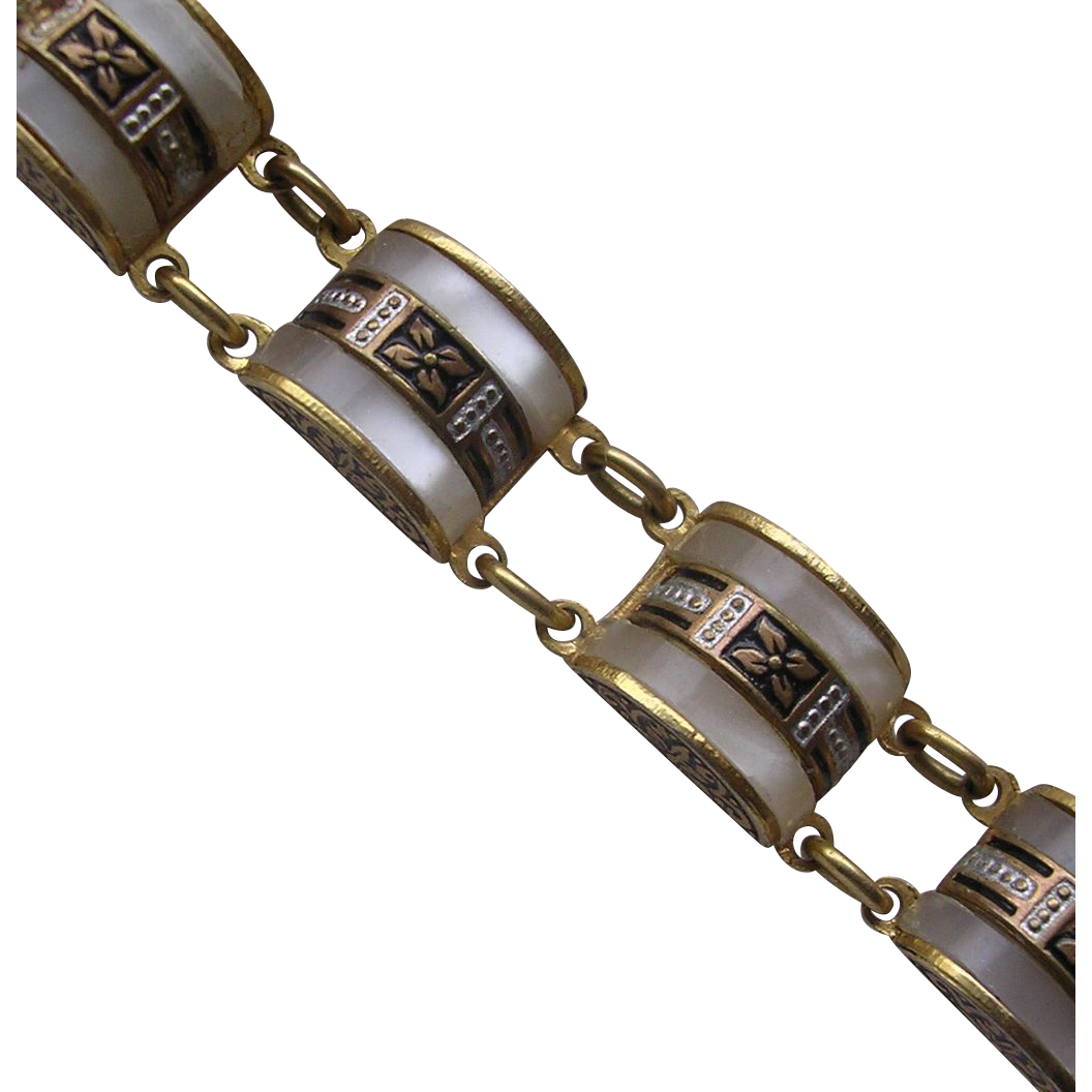 Vintage Toledo Mother of Pearl Set Bracelet