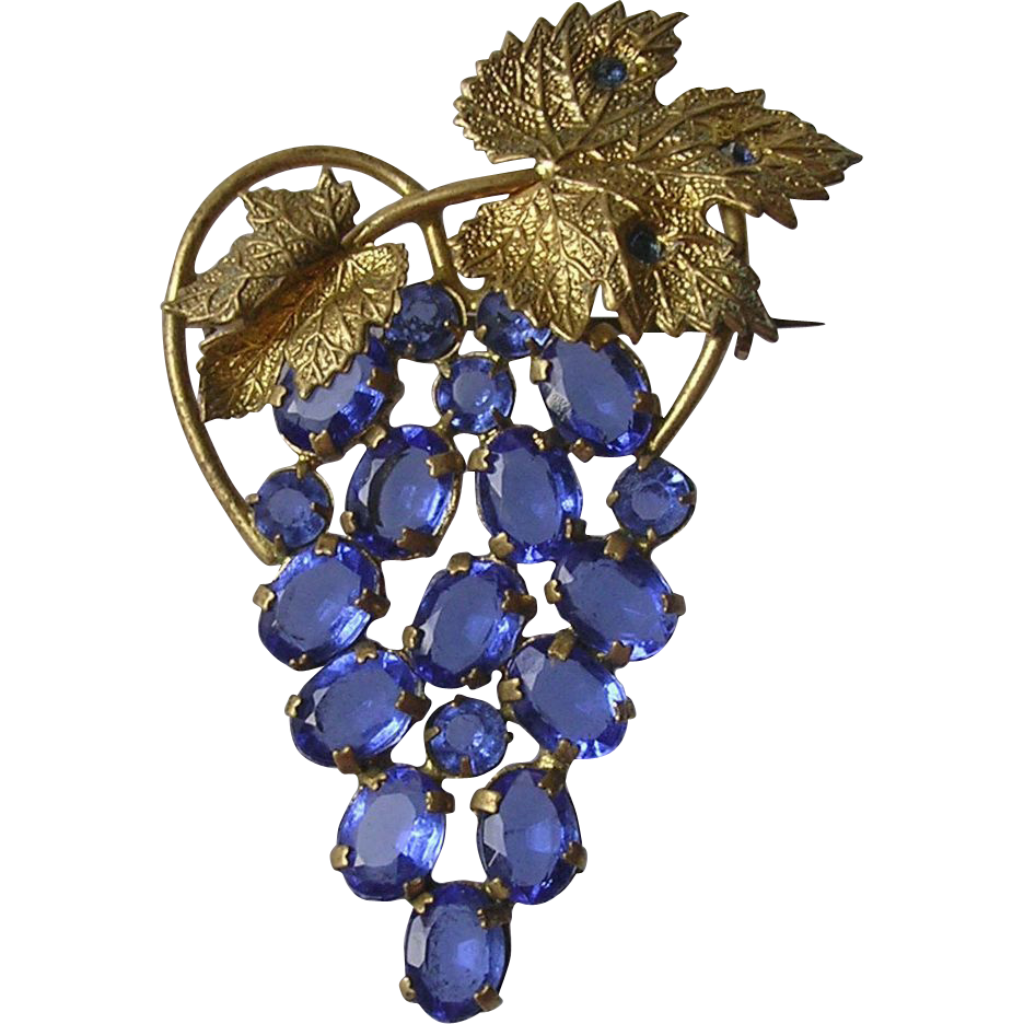 Gorgeous Vintage Blue Rhinestone Grape Bunch Brooch