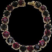 Vintage Black & Red Rhinestone Bracelet