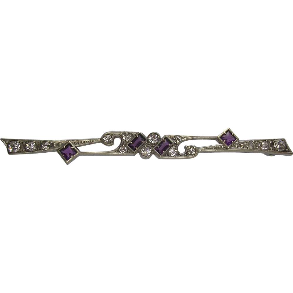 Belle Epoque Amethyst Rhinestone Bar Brooch