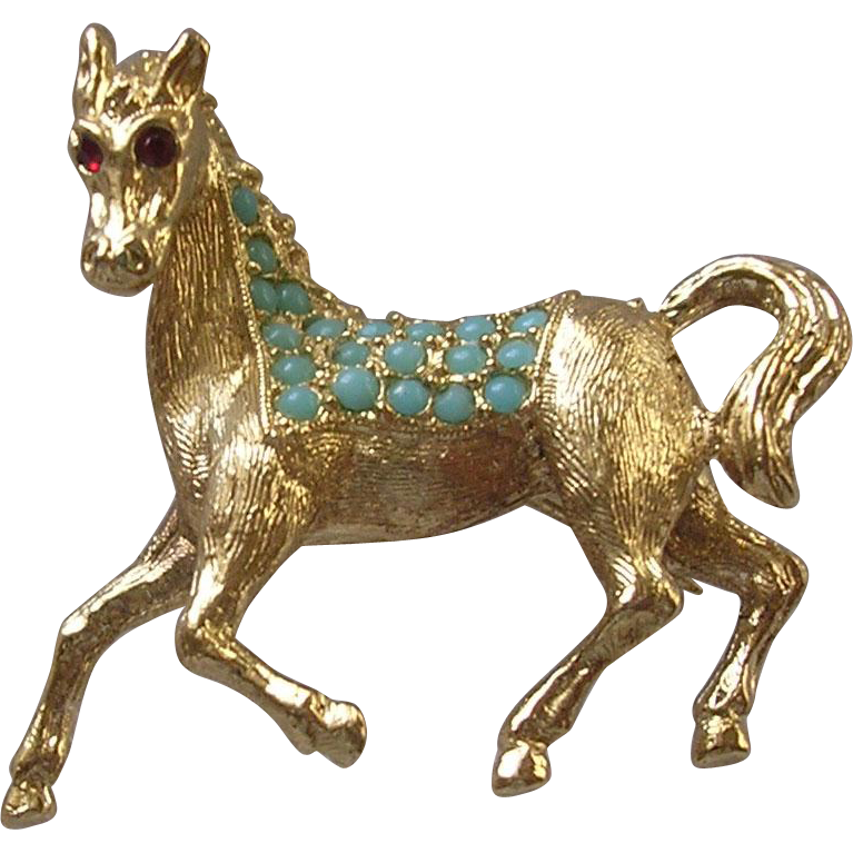 Vintage Imitation Turquoise Set Prancing Horse Brooch