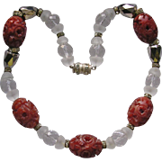 Art Deco French Carved Bead & Crystal Necklace