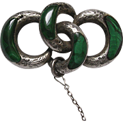 Victorian Sterling Silver Scottish Agate Malachite Lover's Knot Brooch