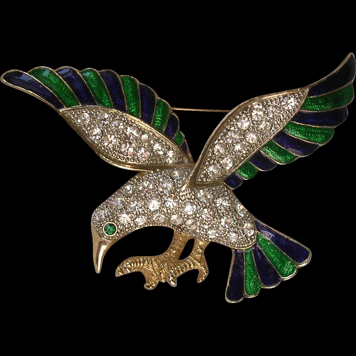 Oversized Enamel & Rhinestone Bird Brooch
