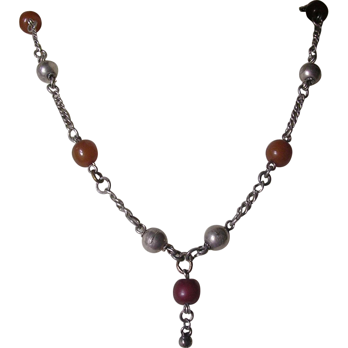 Vintage Ethnic Silver & Carnelian Bead Necklace
