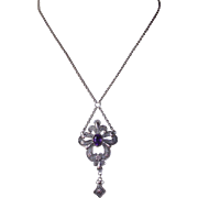 Silver Filigree & Amethyst Lavalier Necklace