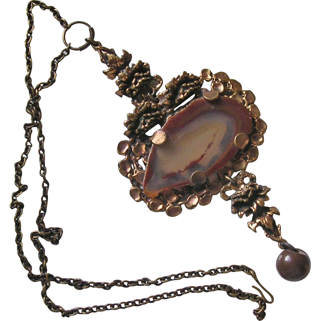 Large Finnish Pentti Sarpaneva Bronze Agate Modernist Pendant Necklace