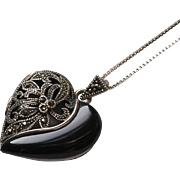 Sterling Silver Marcasite Heart Locket Vinaigrette Pendant Necklace