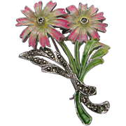 Enamel & Marcasite Flower Brooch