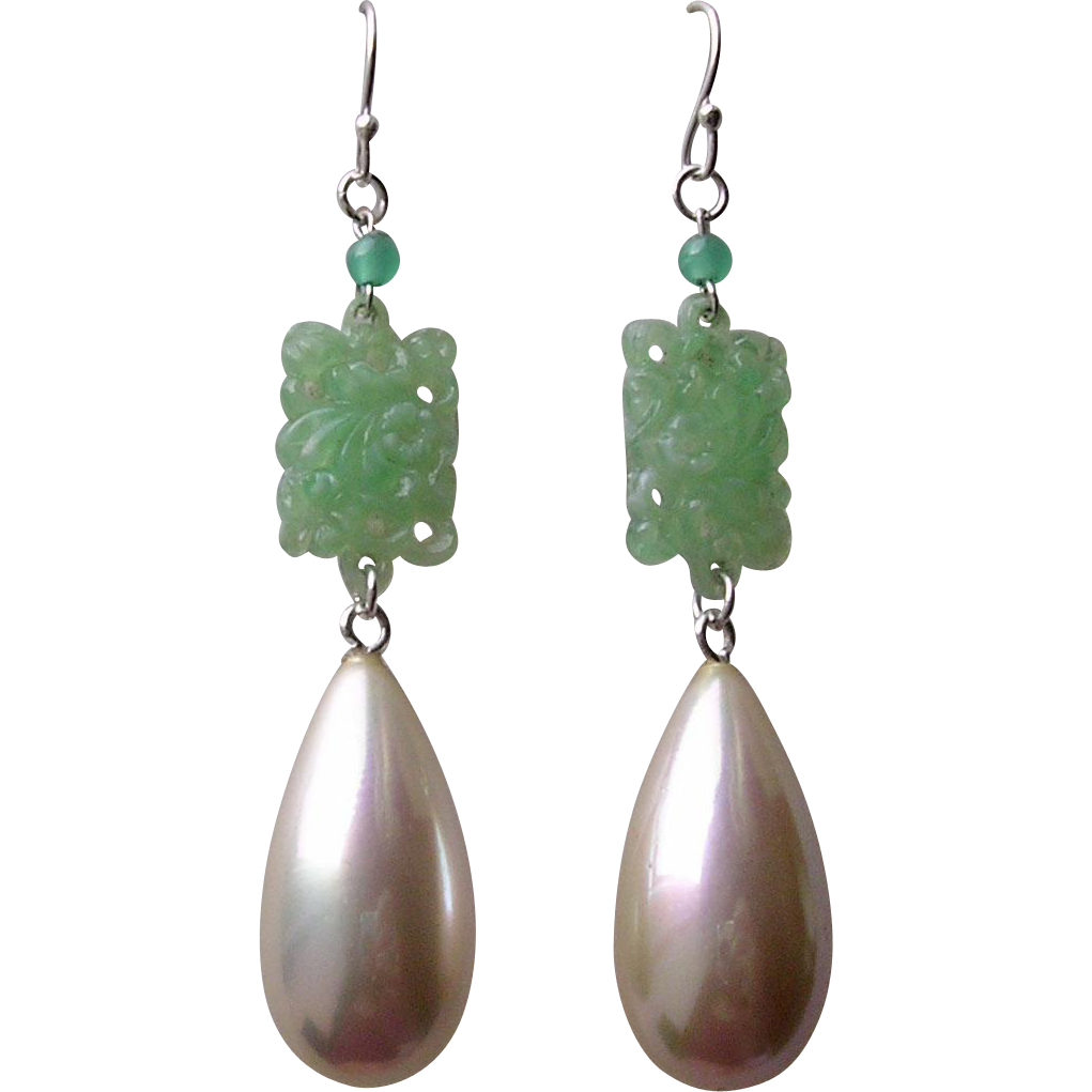 Deco Style Imitation Carved Jade and Pearl Pendant Drop Earrings
