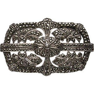 Art Deco Egyptian Style 935 Silver & Marcasite Brooch