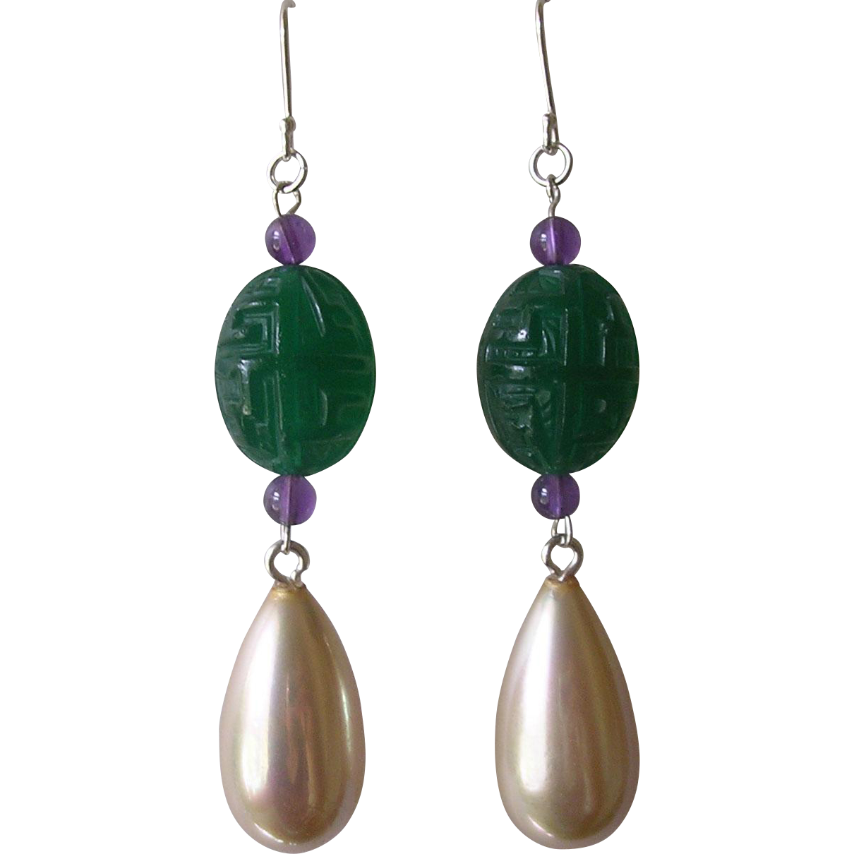 Imitation Carved Green Onyx Glass Amethyst & Imitation Pearl Pendant Earrings