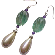 Fluorite Amethyst & Imitation Pearl Pendant Earrings