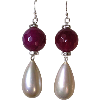 Art Deco Inspired Imitation Ruby & Pearl Pendant Earrings