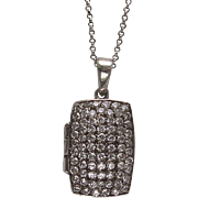 Sterling Silver Crystal Fronted Locket Pendant Necklace