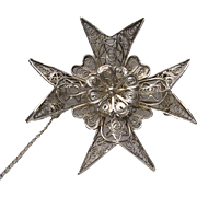 Vintage Signed Silver Filigree Maltese Cross Brooch