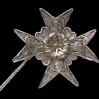 Vintage Signed Silver Filigree Maltese Cross Brooch