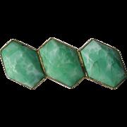 Art Deco Peking Glass Shaped Cabochon Brooch