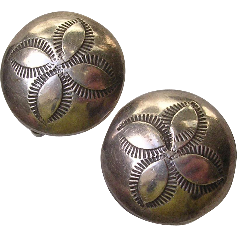 Mid Century Modern Etched Puffy Sterling Silver Clip Earrings