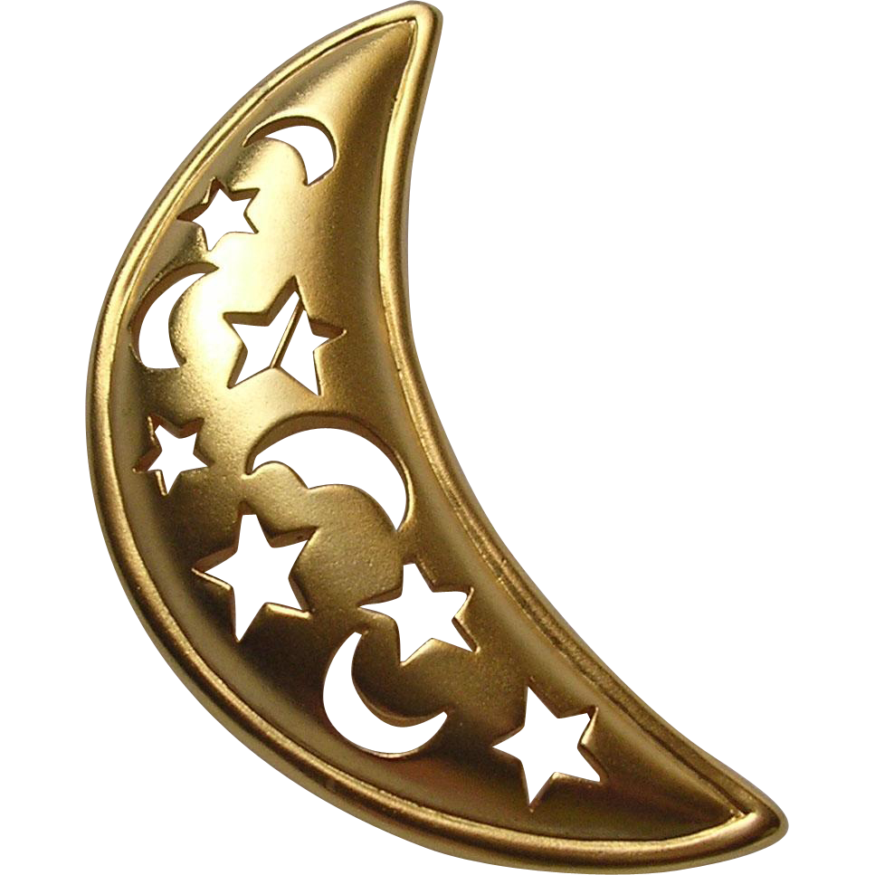 Large English Goldtone Crescent Moon Brooch