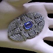Art Deco Sapphire Rhinestone Brooch