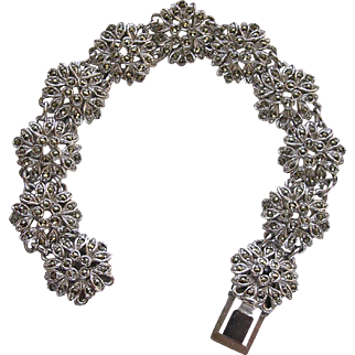 Rhodium Plated Marcasite Bracelet