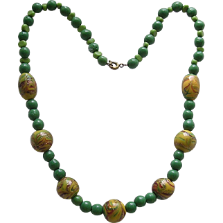 Colorful Vintage Aventurine Lamp Work Bead Necklace