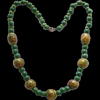 Colorful Vintage Aventurine Lamp Work Bead Necklace