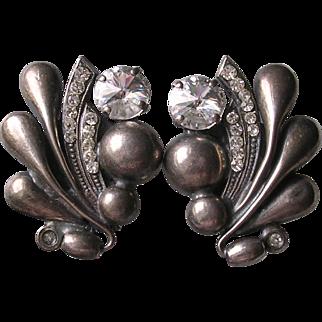 Italian Silver Plated Rivoli Crystal Clip Earrings