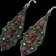 Art Deco Red & Green Mirror Back Rhinestone Pendant Earrings
