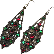 Art Deco Red & Green Mirror Back Rhinestone Pendant Earrings