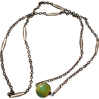 Art Deco Green Yellow Art Glass Bead Pendant Necklace
